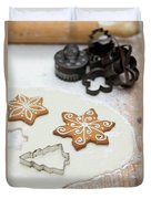 Gingerbread Making - Christmas Preparing With Vintage Kitchen Tools Duvet Cover