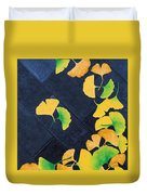 Ginkgo Leaves On Pavement Duvet Cover