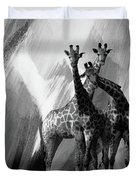 Giraffe Abstract Art Black And White Duvet Cover