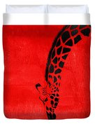 Giraffe Animal Decorative Red Wall Poster 3 - By  Diana Van Duvet Cover