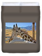 Giraffe At Feeding Station In Living Desert Zoo And Gardens In Palm Desert-california Duvet Cover