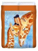 Giraffe Baby And Mother Duvet Cover