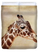 Giraffe Portrait With Texture Duvet Cover
