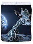 Giraffe On Moon Duvet Cover