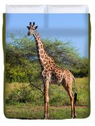Giraffe On Savanna. Safari In Serengeti Duvet Cover