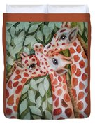 Giraffe Trio By Christine Lites Duvet Cover by Allen Sheffield