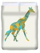Giraffe Watercolor Art Duvet Cover