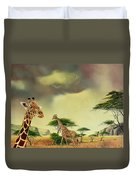 Giraffes At Thabazimba Duvet Cover