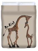 Giraffes, Big And Small Duvet Cover