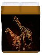 Giraffes Light Show  Duvet Cover
