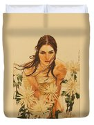 Girl Among The Flowers Duvet Cover