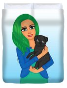 Girl And Dog Pet Duvet Cover