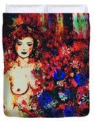 Girl Arranging Flowers Duvet Cover