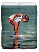 Girl At Shore  Duvet Cover