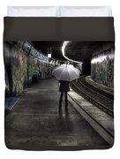 Girl At Subway Station Duvet Cover