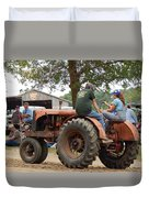 Girl Driving A Tractor Duvet Cover