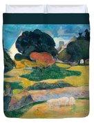 Girl Herding Pigs Duvet Cover by Paul Gauguin