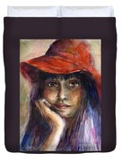 Girl In A Red Hat Portrait Duvet Cover