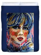 Girl In Blue And Gold Duvet Cover