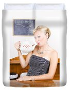 Girl In Cafe Serving Hot Coffee With Heart Teapot Duvet Cover