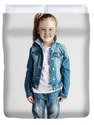 Girl In Jeans Clothes On White Background. Duvet Cover