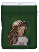 Girl In Ribboned Straw Hat Duvet Cover