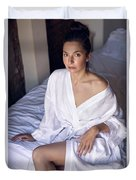 girl in the Bathrobe lying Duvet Cover