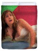 Girl In The Pool 3 Duvet Cover