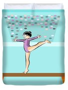 Girl Jumps On One Foot On The Balance Beam Duvet Cover