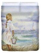 Girl And Ocean Watercolor Duvet Cover