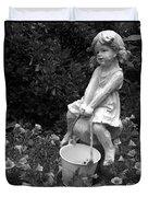 Girl On A Mushroom Duvet Cover
