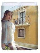 Girl On Balcony Duvet Cover