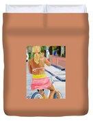 Girl On Bike Duvet Cover