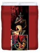 Girl On Couch Man On Curtain Duvet Cover