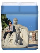 Girl On Statue Mt. Juic Barcelona Duvet Cover