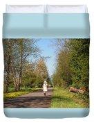 Girl On Trail In Straw Hat Duvet Cover