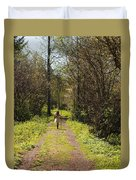 Girl On Trail With Walking Stick Duvet Cover