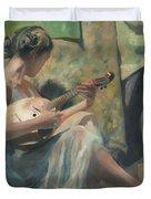 Girl Playing Domra  Duvet Cover
