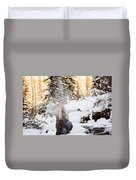 Girl Playing In The Snow In The Woods Duvet Cover