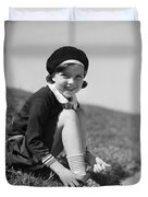 Girl Putting On Roller Skates, C.1930s Duvet Cover