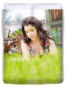 Girl Reading Book Duvet Cover