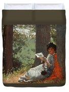 Girl Reading Under An Oak Tree Duvet Cover