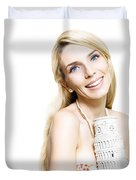 Girl Reminiscing A Trip To Europe With A Memento Duvet Cover