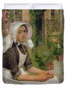 Girl Shelling Peas Duvet Cover