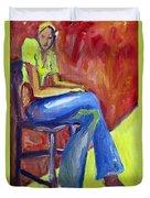 Girl Sitting Duvet Cover