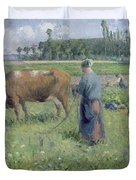 Girl Tending A Cow In Pasture Duvet Cover