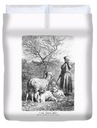 Girl Tending Sheep Duvet Cover
