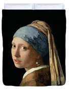 Girl With A Pearl Earring Duvet Cover by Jan Vermeer