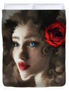 Girl With A Red Rose.. Duvet Cover