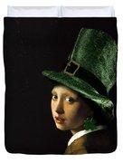 Girl With A Shamrock Earring Duvet Cover